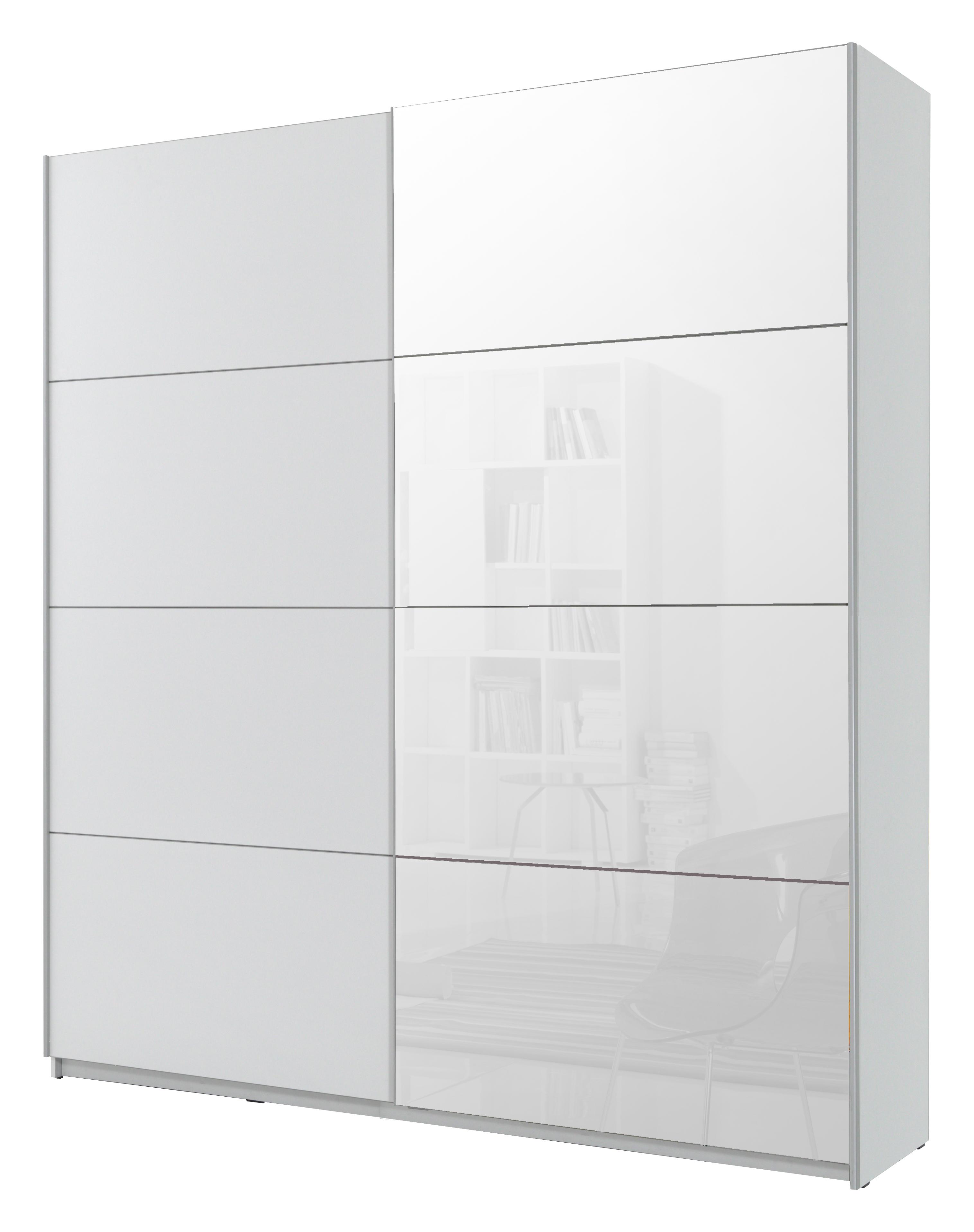 Šatní skříň - Benson - Typ 56 (bílá + zrcadlo)